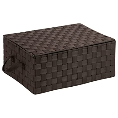 Honey-Can-Do OFC-03704 Double Woven Storage Chest Box with Lid and Handles, 12 by 17 by 7-Inch, Espresso Brown