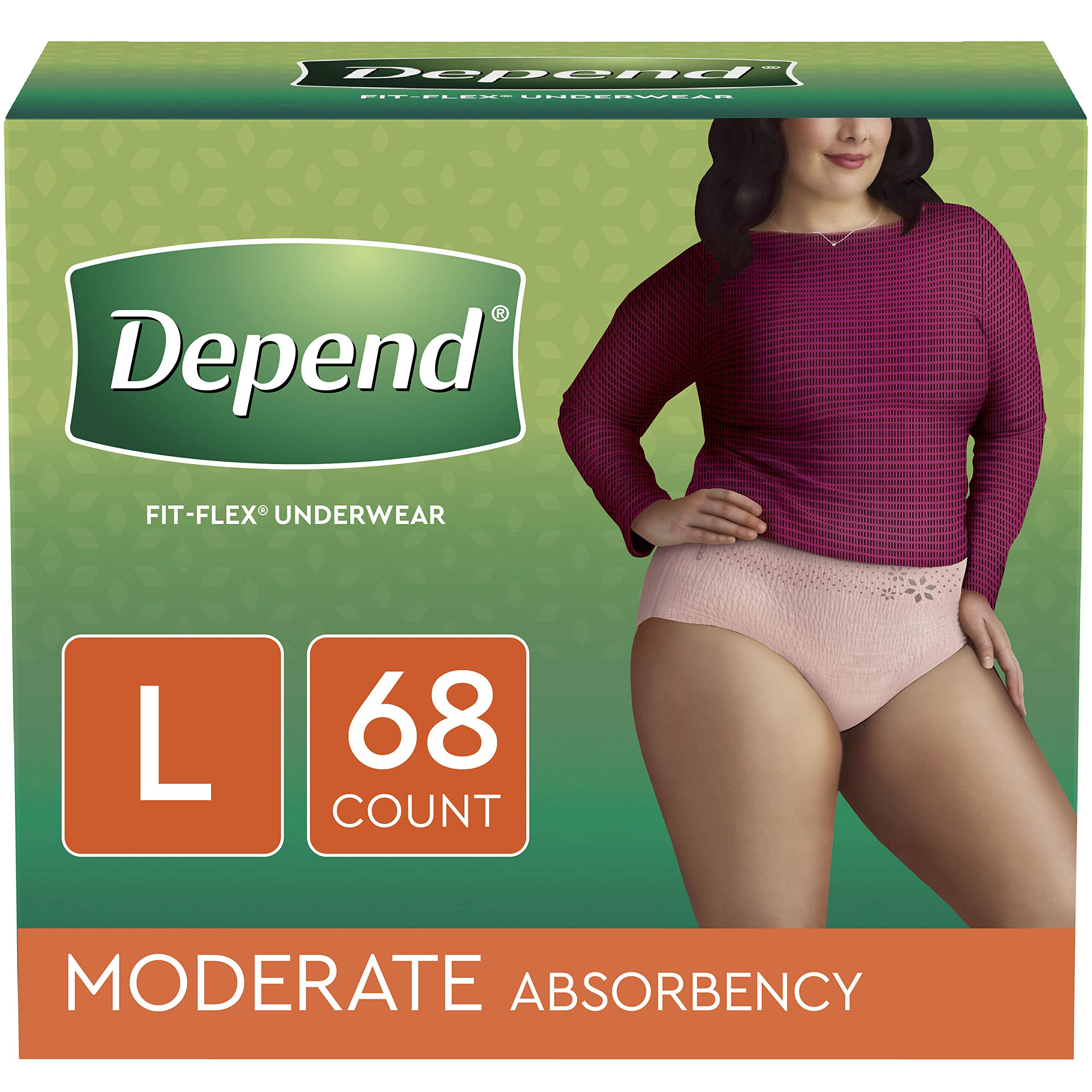 Depend FIT-FLEX Incontinence Underwear for Women, Disposable, Moderate Absorbency, L, Blush, 68 Count by Depend