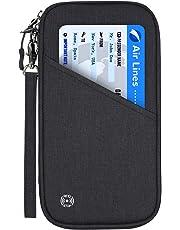 Vemingo Porte-Passeport Portefeuille de Voyage Familial avec Blocage RFID Porte-Document Pochette de 4 Passeports, Carte d'Identité, 13 Carte de Crédit, Billets d'avion pour Femme Homme