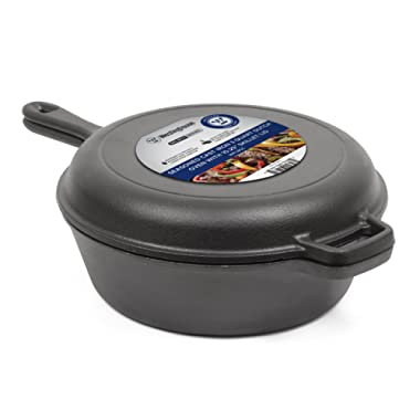 Commercial Chef CHFL3CC Pre- Seasoned Cast Iron 3 Quart Dutch Oven with Skillet Lid