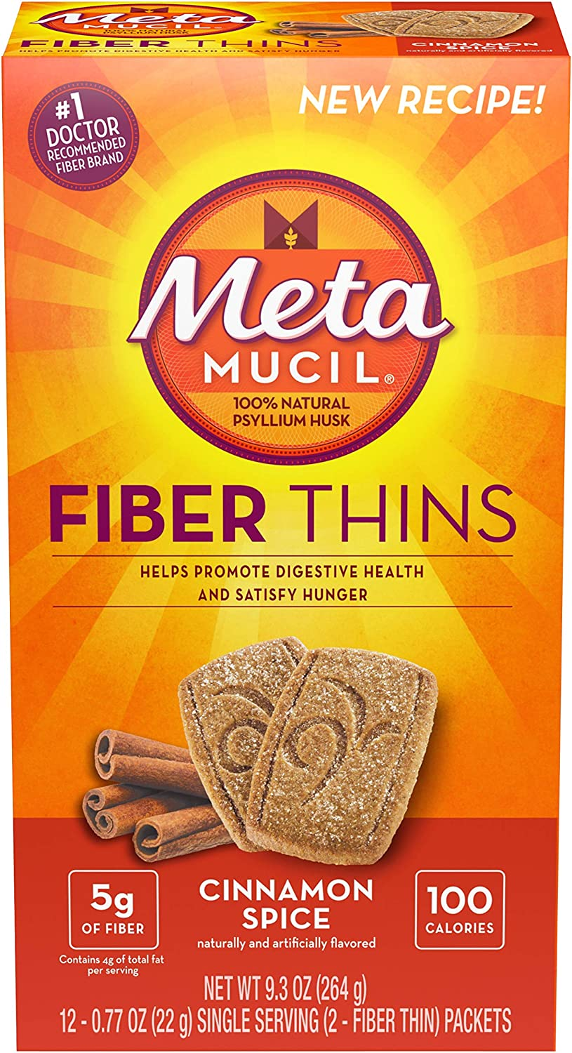 Metamucil Fiber Thins Cinnamon Spice 3-boxes of 12 packets. Each of the 12 packets contain 2 fiber thins