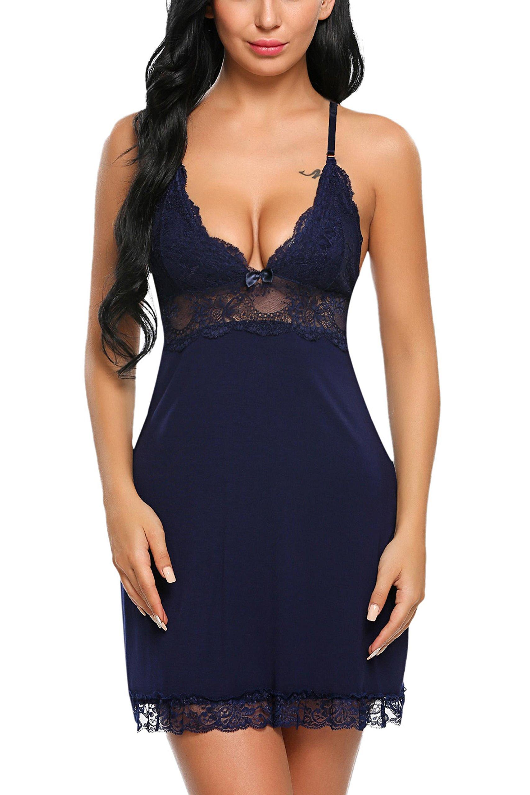 ADOME Women Sleepwear Lace Lingerie Halter Chemise Sexy Babydoll Full Slips Navy Blue XL