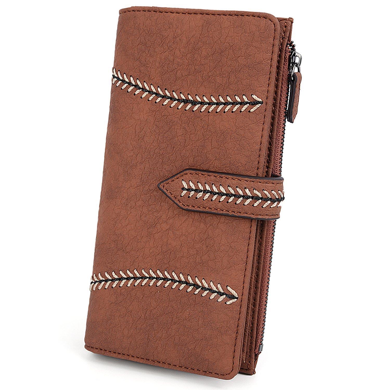 UTO Women Wallet PU Leather Card Checkbook Holder Zipper Phone Pocket Wheat Snap Purse Brown