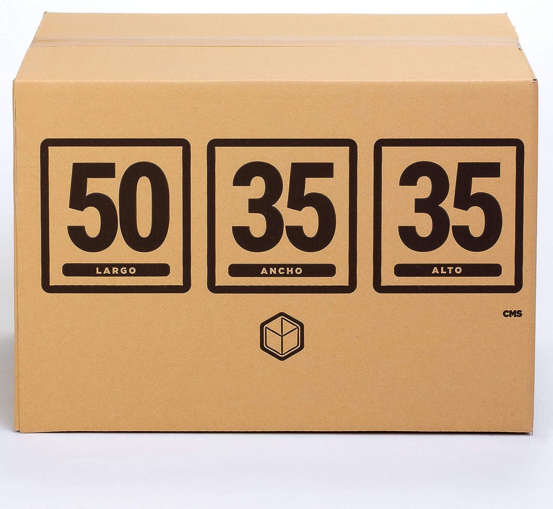 10x) Cajas para Mudanza | Caja de Cartón TeleCajas | Onda Doble Reforzada, con Asas | 50x35x35 cms | Pack de 10 unidades: Amazon.es: Oficina y papelería