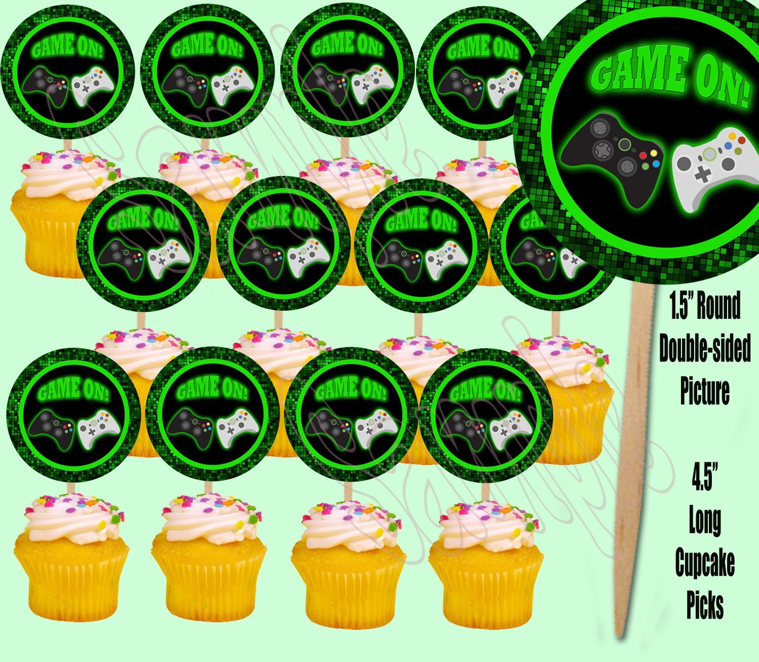 Game On Video Game Controller Cupcake Picks Double-sided Images Cake Topper -12, Video Game Truck Party Pixel Party by Party Over Here