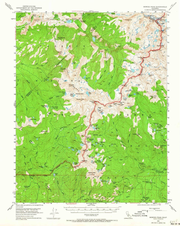 Amazon.com : YellowMaps Merced Peak CA topo map, 1:62500 ...