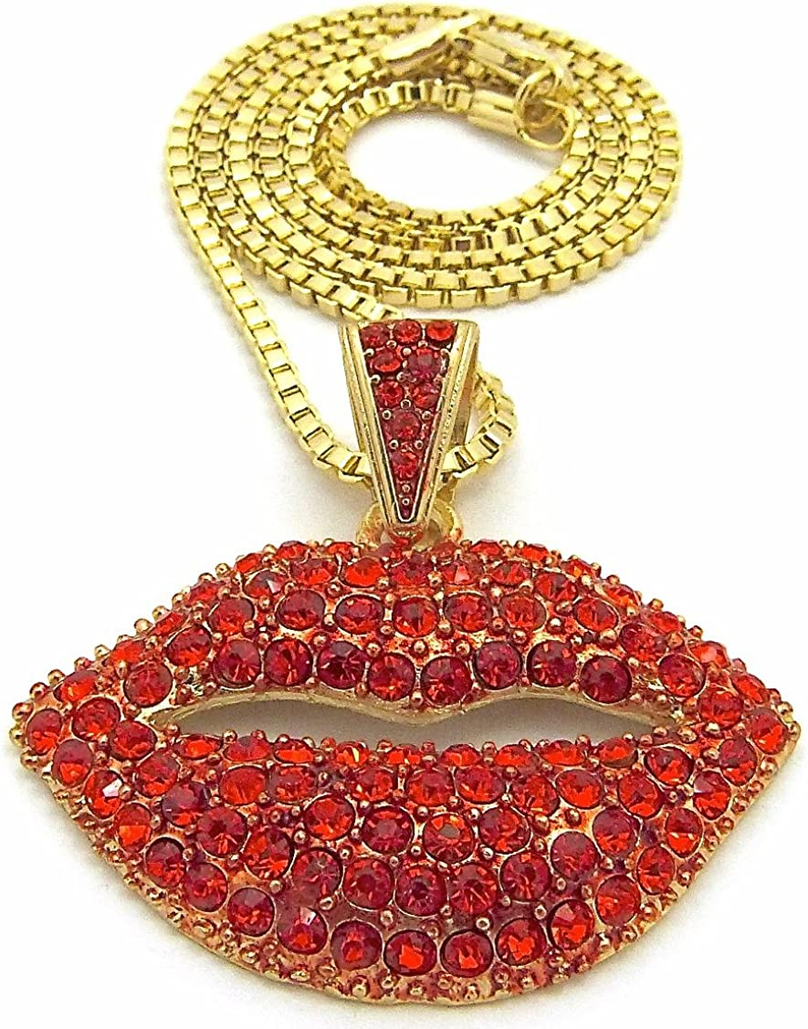 GWOOD Kissing Lips Pendant with Red Rhinestones Necklace