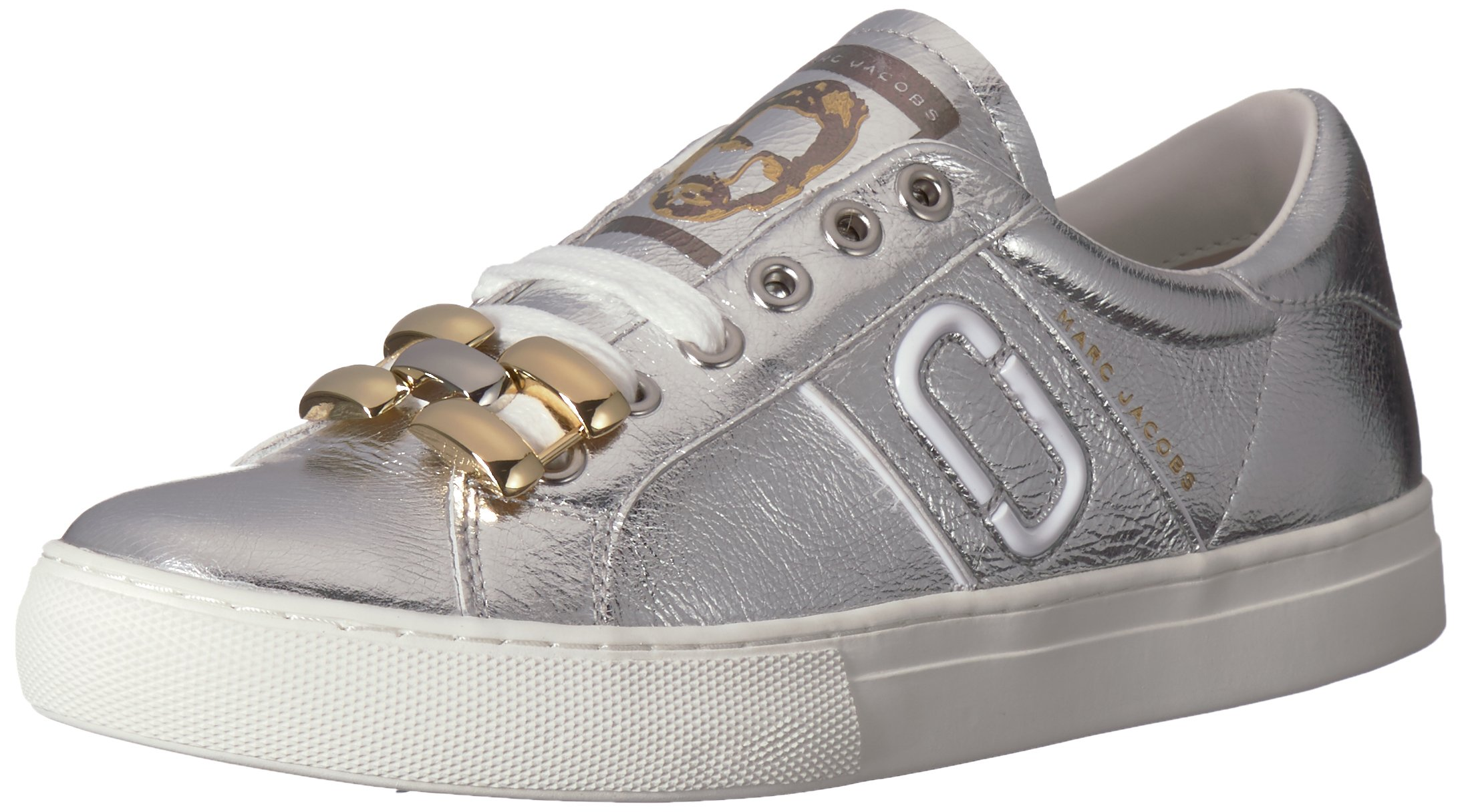 Marc Jacobs Women's Empire Chain Link Sneaker, Silver, 37 M EU (7 US)