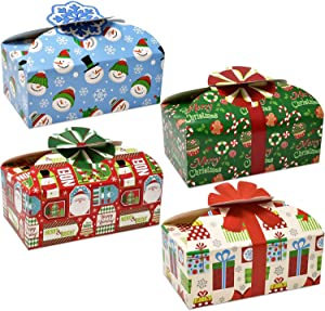 Gift Boutique Christmas Cookie Boxes with Bows, Holiday Candy Treat Goody Paper Boxes and Bags Party Favors, Pack of 16