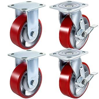 "Set of Four 6/"" x 2/"" Polyurethane on Steel Swivel Casters w// Brake 1200lb ea"