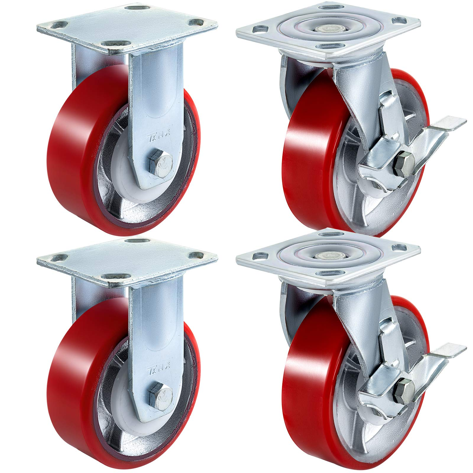 BestEquip 4 Pack 6'' x 2'' Caster Wheels 2 Rigid & 2 Swivel Casterswith Side Brake Polyurethane Heavy Duty Casters Iron Core Plate 1000LBS Capacity Per Wheel for Warehousing and Industrial Equipment