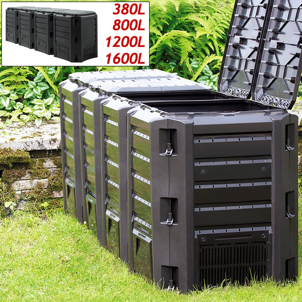 Deuba Compostador con capacidad de 380L Negro - producción humus abono natural de jardín resistente intemperie exterior