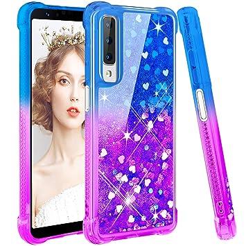 wlooo Funda para Samsung Galaxy A7 2018, Fundas Samsung A7 2018, Glitter liquida Gradiente Cristal Silicona Bling Protector TPU Bumper Case Brillante ...