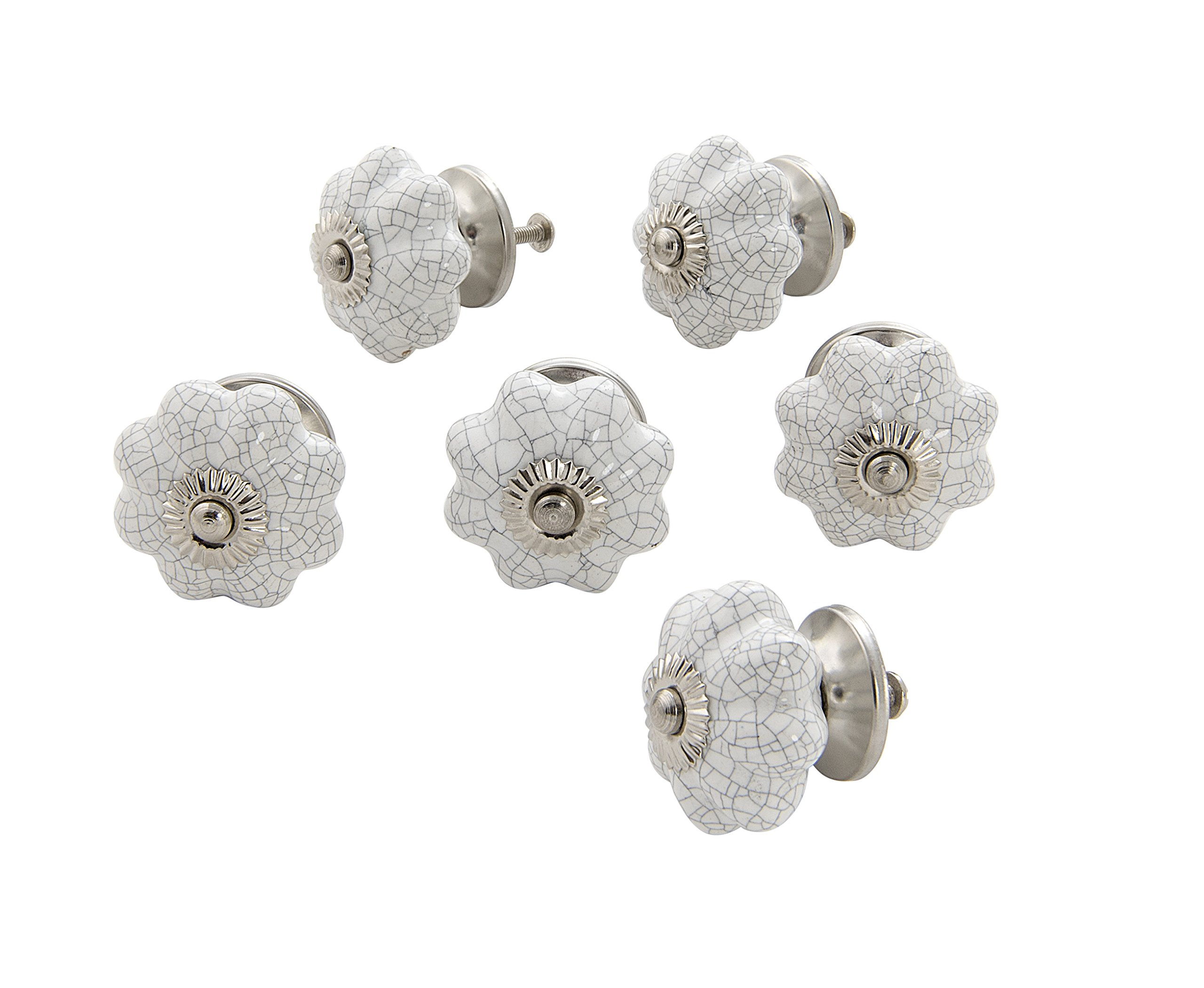 Dritz Home 47028A Ceramic Scallop Flower Knob Handcrafted Knobs for Cabinets & Drawers