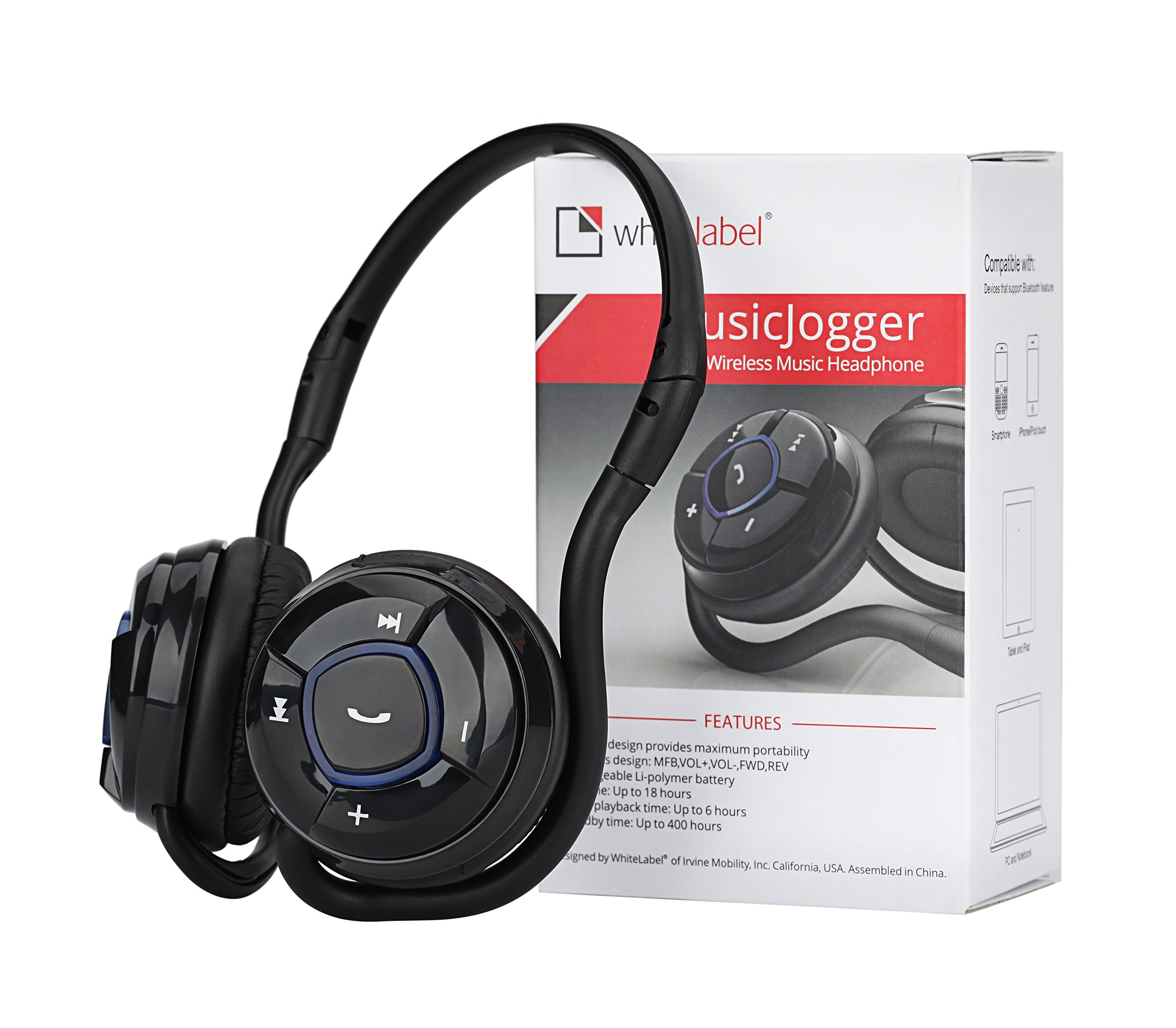 WhiteLabel MusicJogger Wireless Bluetooth Stereo Headphones, Headphone, Sport Headset, Music Streaming, Noise Reduction Handsfree Voice Calling by White Label (Image #7)