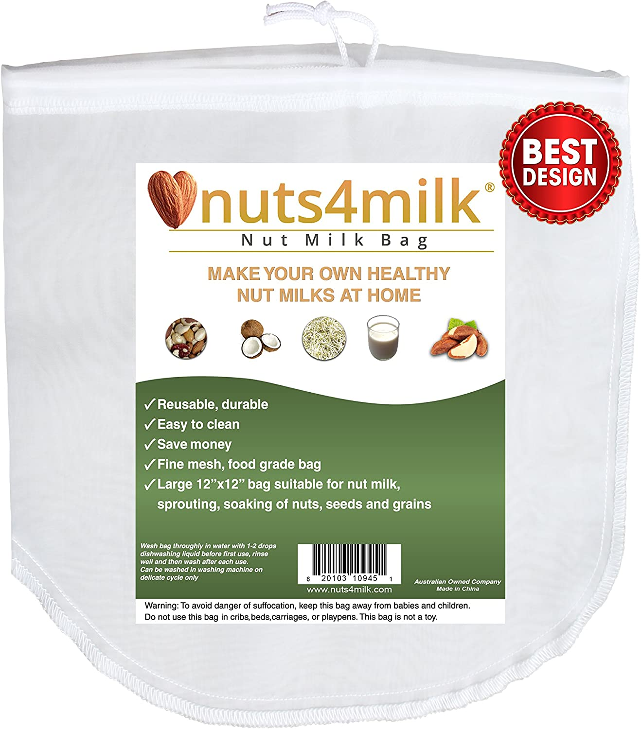 2 for 1 Special !!! Nut Milk Bag Large - NEW - Juice, Soak and Sprout! =