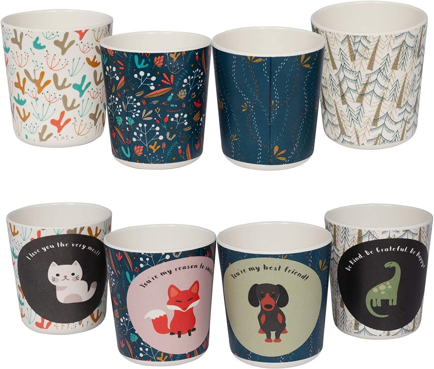 Super Cute Bamboo Cups for Kids, Eco Friendly Toddler Cup, 8 Oz, 4 Pack