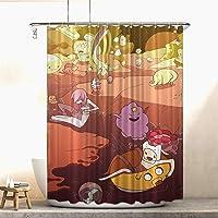 Heat Adventure Time Fabric Shower Curtain Anime Merchandise Anime Shower Curtain for Bathroom Showers Bathtubs 72x72in