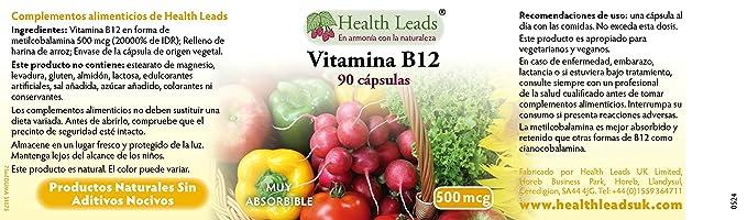Vitamina B12 500 mcg x 90 cápsulas ...: Amazon.es: Salud y cuidado personal