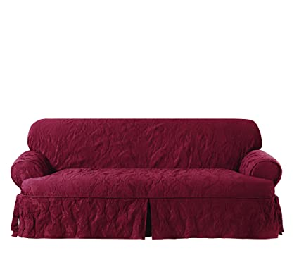 Superior Sure Fit Matelasse Damask One Piece Sofa Slipcover   Chili