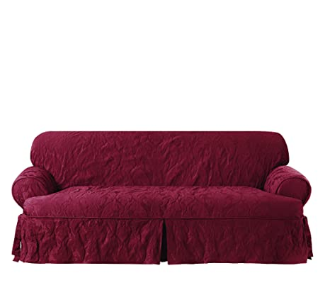 Miraculous Sure Fit Matelasse Damask One Piece Sofa Slipcover Chili T Cushion Machost Co Dining Chair Design Ideas Machostcouk