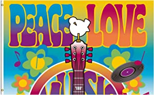 ShineSnow Peace Love Symbol Guitar Dove Woodstock Music and Art Fair 3x5 Feet Flag, Polyester Double Stitched with Brass Grommets 3 X 5 Ft Flag for Outdoor Indoor Home Decor