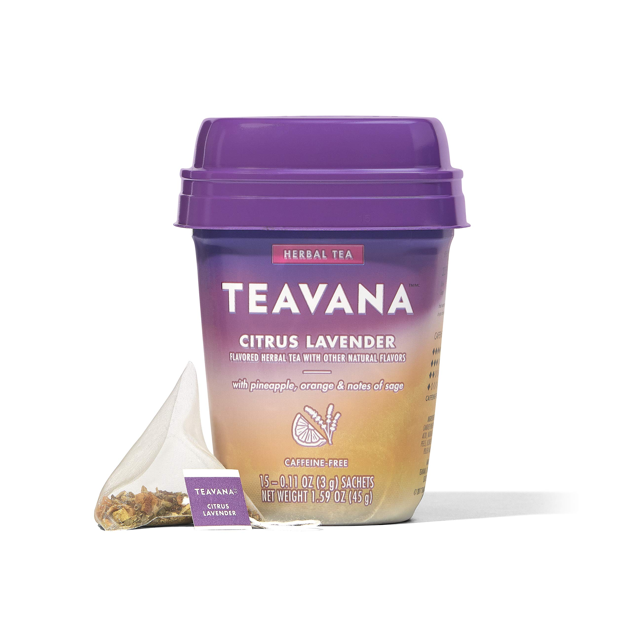 Teavana Citrus Lavender, Herbal Tea With Pineapple, Orange and Notes of Sage, 60 Count (4 packs of 15 sachets)