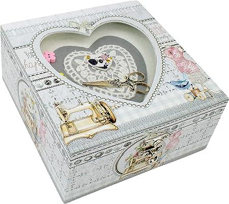 Fildor Corazón Caja, Organizador, Costurero, fabric, Blanco, 15x15x7.5 mm: Amazon.es: Hogar