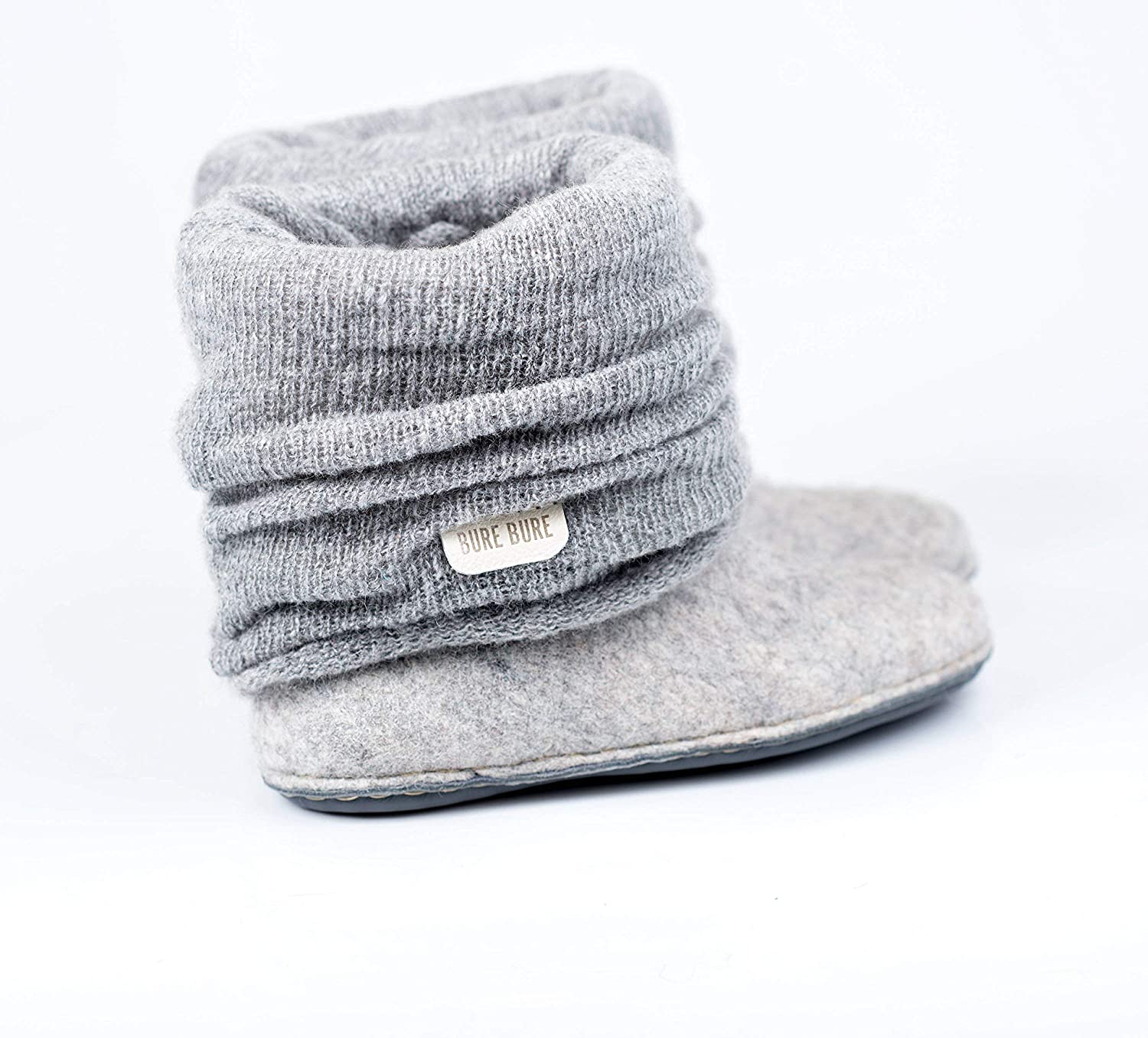 Handmade gray ankle boots for women with alpaca wool and knitted leg warmers