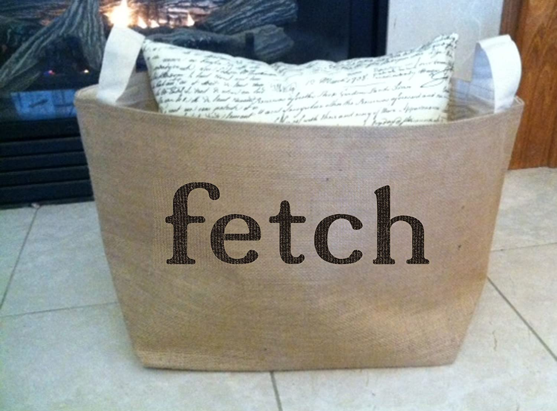 Fetch burlap dog toy storage tote