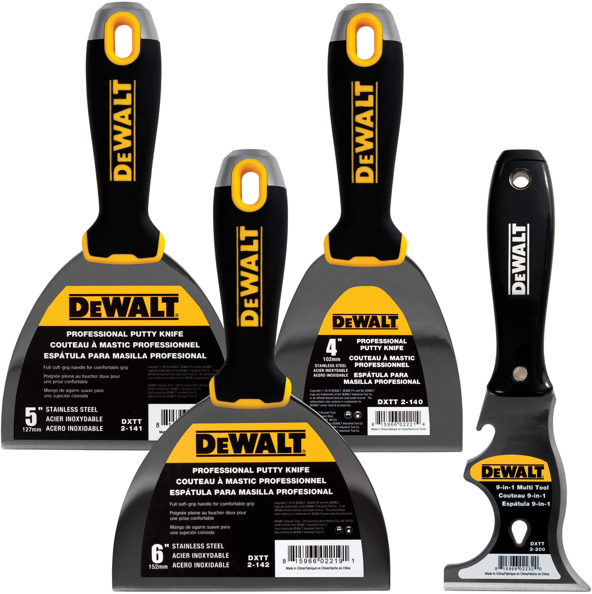 DEWALT Stainless Steel Putty Knife 3-Pack | 4/5/6-Inch + 9-in-1 Painter's Multitool Included for FREE | Soft Grip Handles | DXTT-3-140 by DEWALT