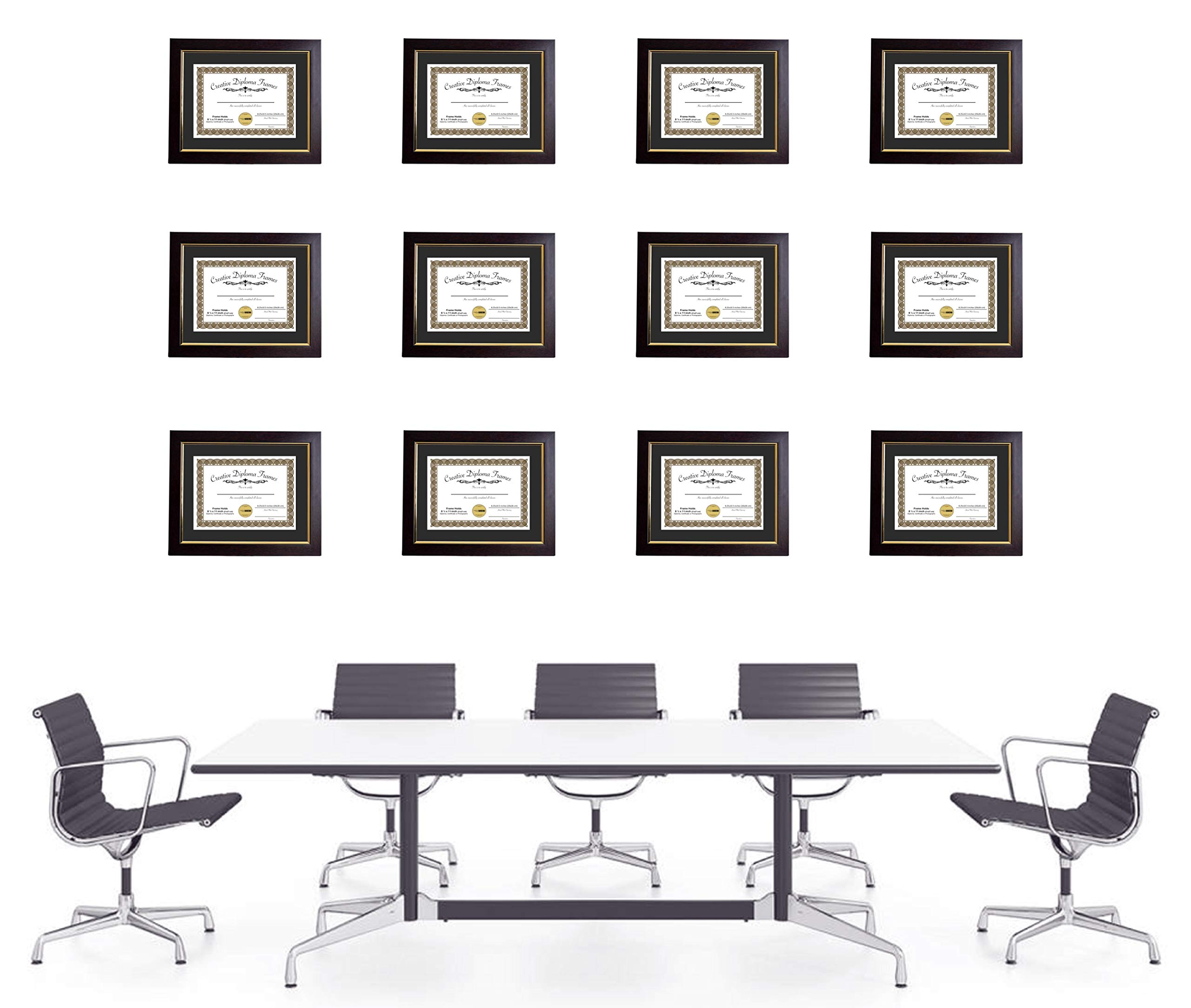 CreativePF [mhg024] 11x14-inch Matted Eco Mahogany Diploma Frame Gold Lip with Black/White Core Mat Holds 8.5x11-inch Media, with Installed Hangers (4-Pack) by Creative Picture Frames (Image #6)
