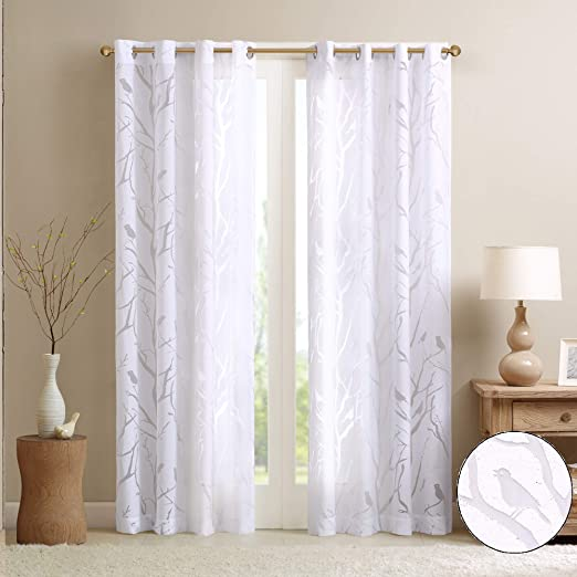 Amazon Com Madison Park Botanical Sheer Curtains For Bedroom Modern Contemporary Linen Grommet Living Room Nature Summer Fashion Panel 50x63 Bird White Home Kitchen