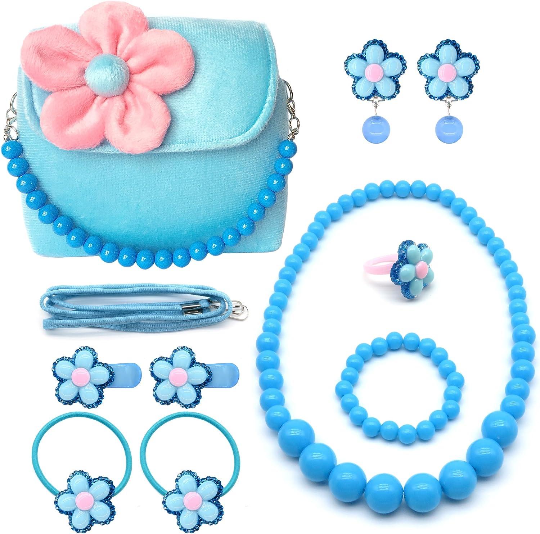 Elesa Miracle Little Girl Handbag Beauty Set Kids Plush Handbag + Flower-shaped Clip-on Earrings Rings Hair Clips and Hair Ties + Necklace and Bracelet Set (Blue)