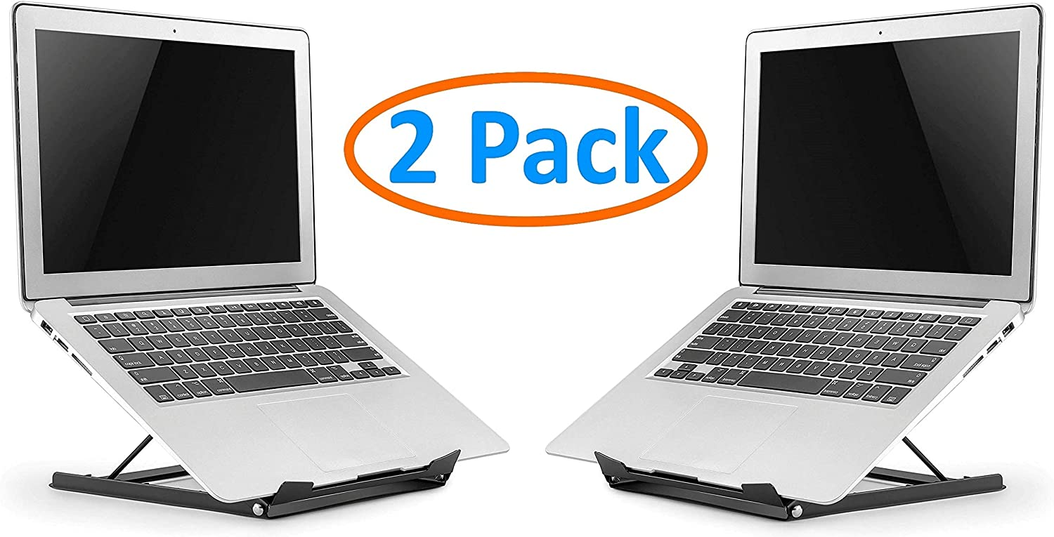 "2-Pack Portable Laptop/Tablet Stand for Desk, Bed, Sofa, Couch. Fully Adjustable 5 Tilt Angles. Lightweight Durable Steel with Non-Slip Pads. Open Back for Cooling. Fits 10-15"" Notebook"