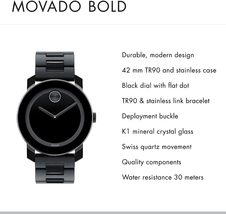 Details about  /Men's Movado 30-40-870 Link 30 40 870 Black Tone 18mm