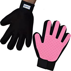 Zenify Cat Hair Remover Grooming Glove Mitt for Deshedding Fur from Cats, Kittens, Rabbits, Guinea Pigs (Light Pink - Left Handed)