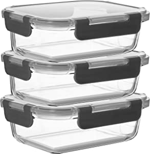 Razab 6 Piece 24 Oz Superior Glass Food Storage Containers (Set of 3) - Newly Innovated Hinged BPA FREE - Leak Proof Glass Meal Prep Containers, Great on-the-go & Freezer to Oven Safe Food Containers