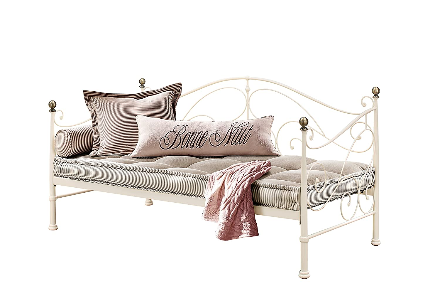 Birlea Furniture Milano Metal Day, 3 FT, Cama Individual, Color Crema: Amazon.es: Hogar