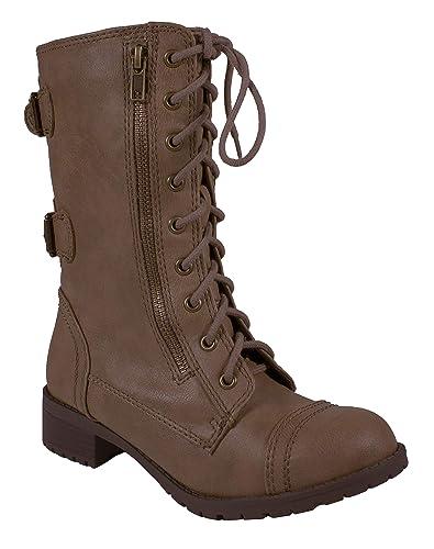 0bbc0e3ec Amazon.com | SODA Lustacious Women's Military Lace Up Mid-Calf Zipper Low  Heel Combat Boots | Mid-Calf