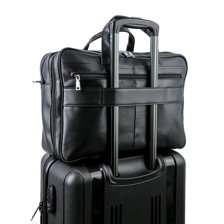 Polare Men's Real Leather Professional 17.7'' Briefcase Shoulder Messenger Business Bag by Polare (Image #6)