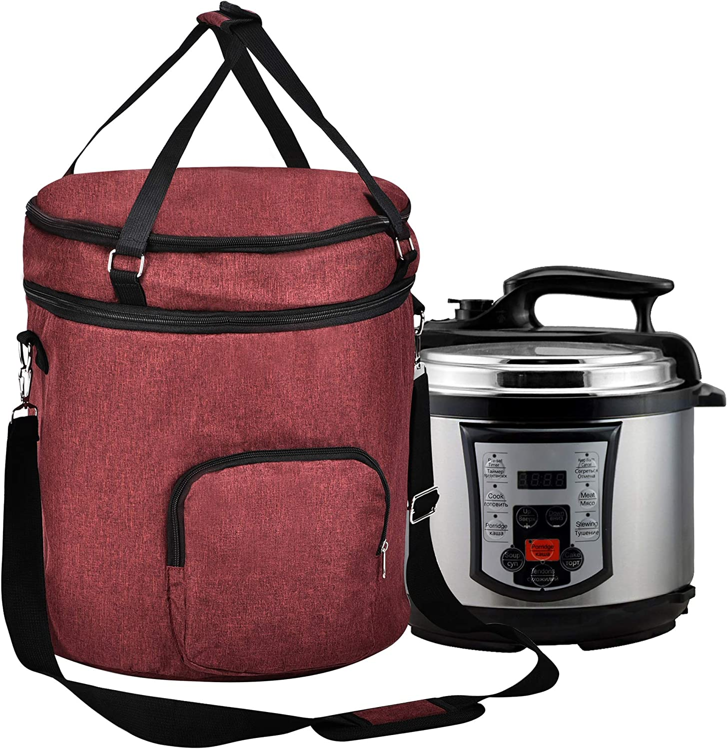 Pressure Cooker Travel Tote Bag, 2 Compartments Travel Tote Case for Cooker Accessories,Kitchen Round Applicances Storage Bag(Enclosed on the Bottom) (Wine Red, Fit for 6 QT Instant Pot)