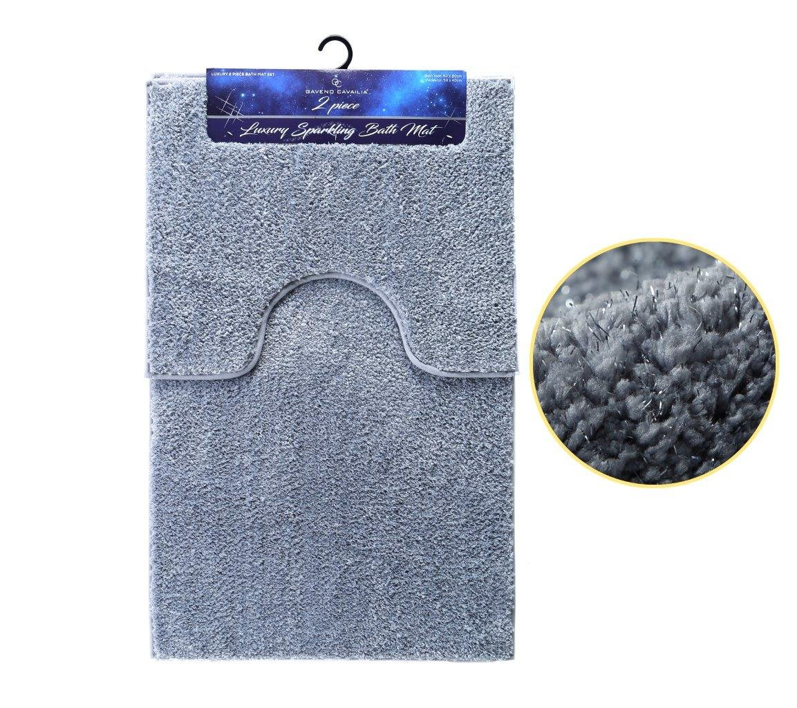 SELECT-ED® Shiny Sparkling Luxury 2pcs Bath Mat Sets Non Slip Water Absorbent Bathroom Rugs (Silver)