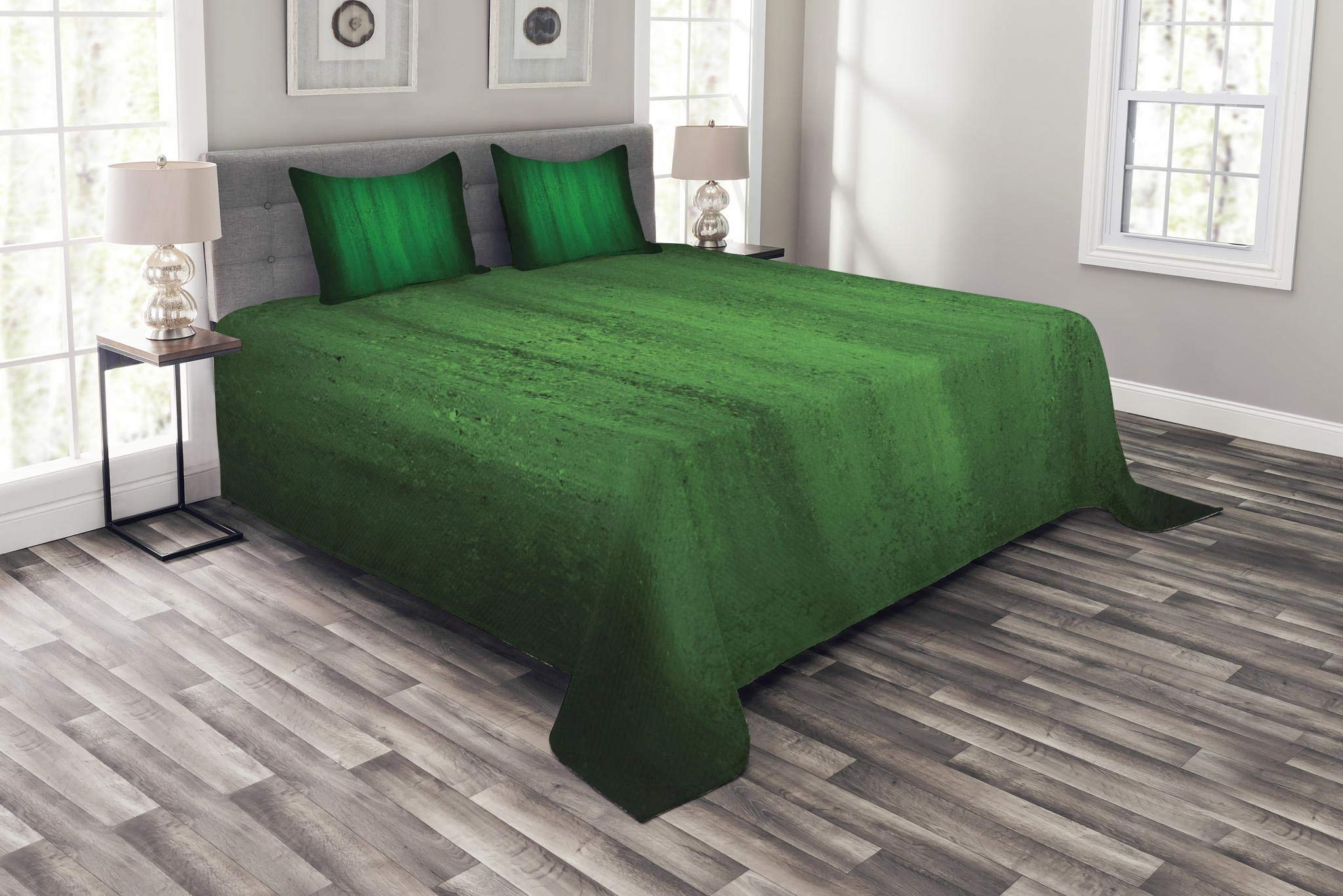 Lunarable Jade Green Bedspread Set Queen Size, Grunge Style Inspirations Worn Out Wall Pattern Monochromatic Abstract Design, Decorative Quilted 3 Piece Coverlet Set with 2 Pillow Shams, Jade Green
