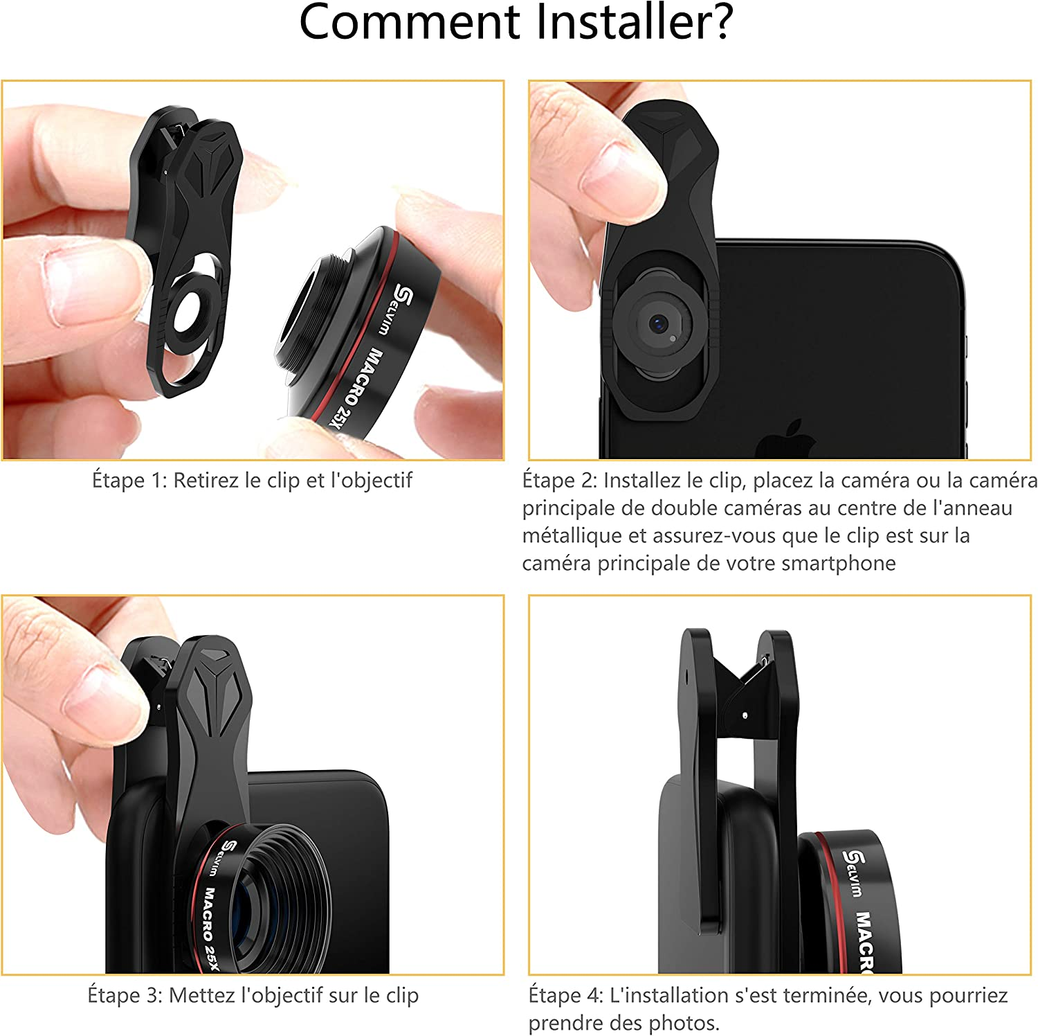 Selvim - Objetivo para Smartphone, Objeto, teléfono, Kit de Lentes para Smartphone para mayoría iPhone, Huawei, Samsung: Amazon.es: Electrónica
