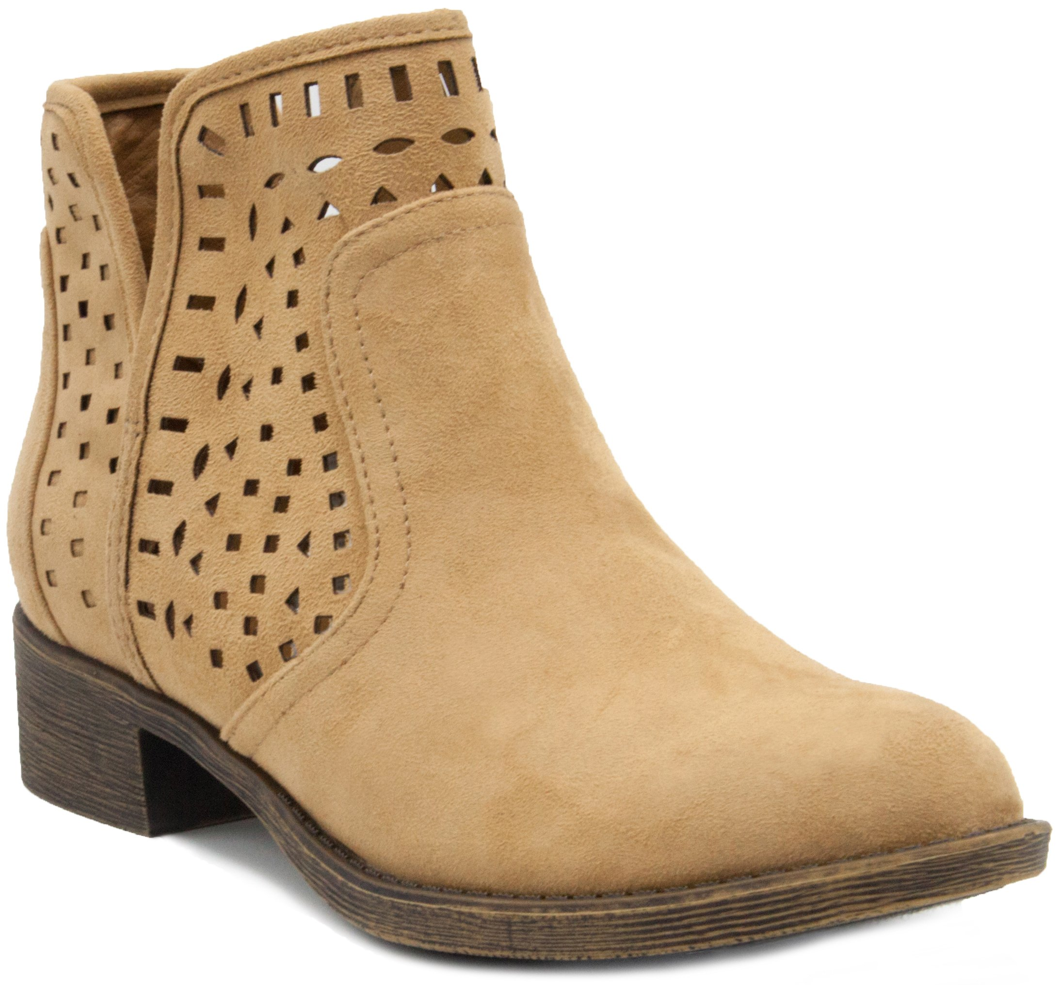 Sugar Women's Calico Ankle Bootie Boot with Perferated Chop Out Design Taupe Fabric 8.5