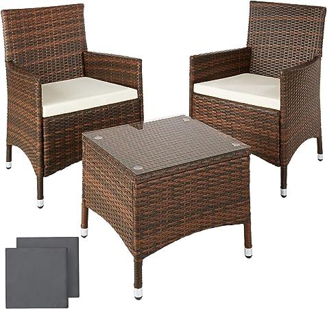 TecTake Conjunto muebles de Jardín en Aluminio y Poly Ratan Sintetico negro 2 plazas, 2 sillones, 1 mesa baja + 2 Set de fundas intercambiables, tornillos de acero inoxidable: Amazon.es: Hogar