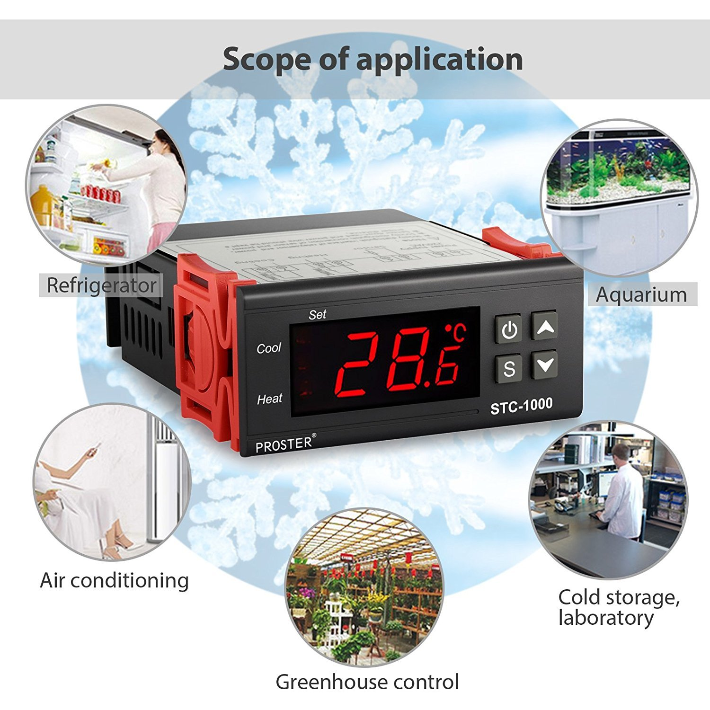 Proster Digitaler Temperaturregler Temperatur Regler Temperature Regulator Controller Thermostat Cool Heat Stc1000 Thermoelement Heizen Oder K Hlen Stc