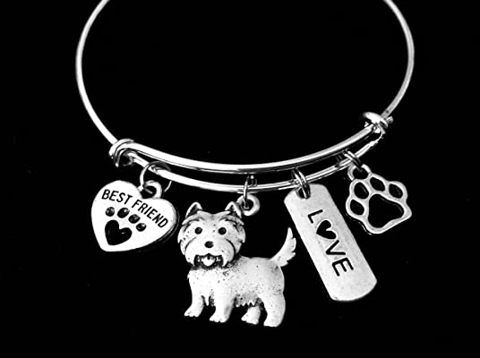 Westie Dog Expandable Charm Bracelet Silver Adjustable Wire Bangle Gift Best Friend Paw Print Pet Animal Lover West Highland Terrier Carin Terrier Personalization Customization Options
