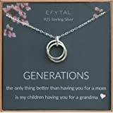 EFYTAL Grandma Gifts, 925 Sterling Silver 2 Thick Interlocking Circles Necklace for Grandmother from Daughter, Mom Necklaces for Women, Birthday Gift Ideas, Mother's Day Jewelry For Her, Mothers Day